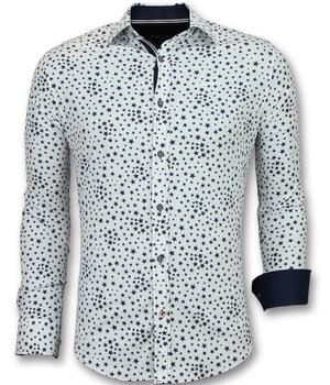 Gentile Bellini Stars Printed Men Collar Shirts - 3007 - White