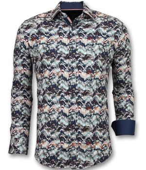 Gentile Bellini Luxury Italian Printed Shirts - 3008 - Blue