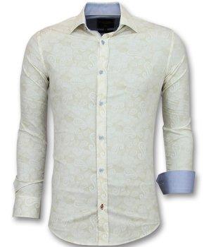 Gentile Bellini Paisley Print Men  Collar Shirts - 3010 - Beige