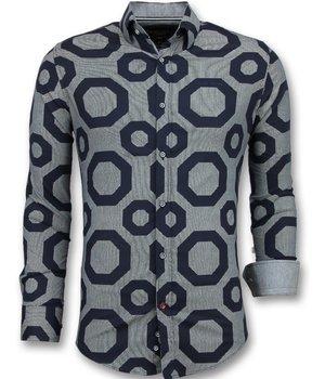 Gentile Bellini Business Shirts Men - Blouse Slim Fit - Blue