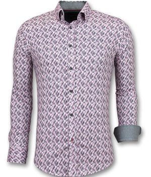 Gentile Bellini Slim Fit Stretch Shirt - Men's Blouse Print - Pink