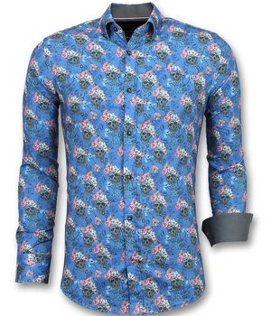 Gentile Bellini Luxury Italian Shirts - Skull Floral Blouse Men - Blue