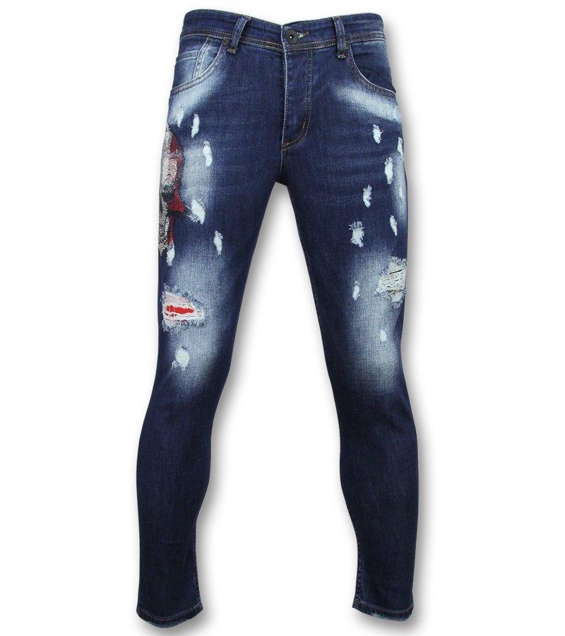 Mario Morato Exclusive Men's Jeans - Skinny Fit Rhinestones Skull - 1514 - Blue