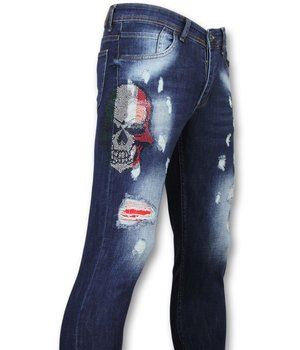 Mario Morato Exclusive Men's Jeans - Skinny Fit Rhinestones Skull - 1514 - Blue