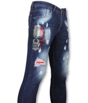 Mario Morato Rhinestones Skull Ripped Jeans Men - 1514 - Blue