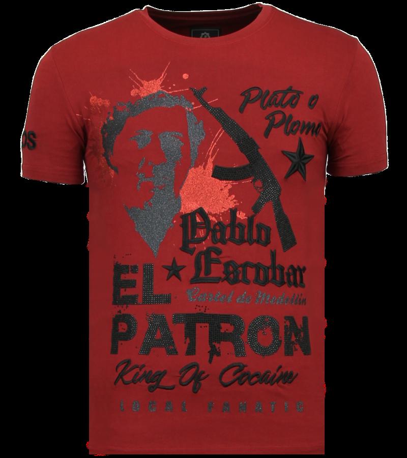 Local Fanatic El Patron Pablo - Rhinestone T-shirt - Bordeaux