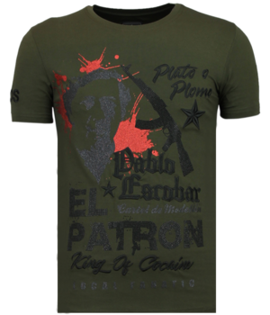 Local Fanatic El Patron Pablo - Rhinestone T-shirt - Khaki