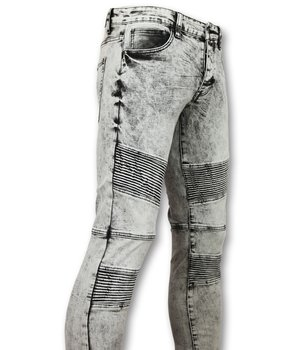 New Stone Men Biker Jeans Stone Washed - 800-11 - Grey