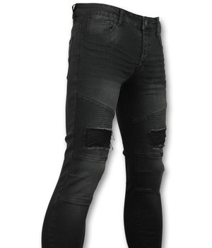 New Stone Men's Jeans Slim Fit Biker Denim - 3013 - Black