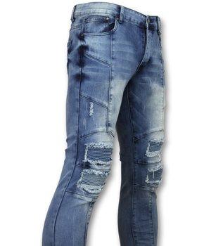 New Stone Exclusive Men's Jeans - Slim Fit Biker Denim - 1058 - Blue