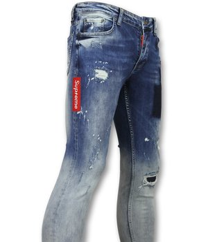 Addict Exclusive Men's Jeans - Washed Denim With Holes - 013 - Blue