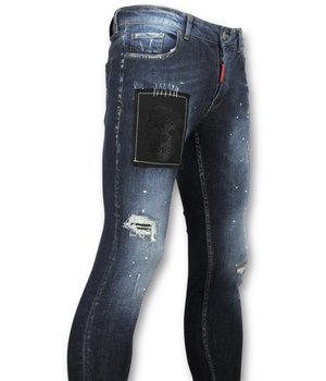Addict Exclusive Men's Jeans - Denim With Rhinestones and Drops - 052 - Blue