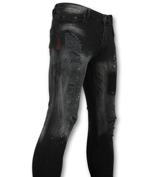 Addict Exclusive Men's Jeans - Slim Fit Denim With Paint Splashes - 029 - Black
