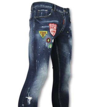 Addict Exclusive Men's Jeans - Patched Denim With Paint Drops - 056 - Blue
