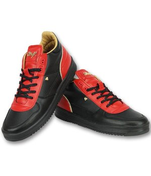 Cash Money Men Shoes Low Sneaker - Luxury Black Red - CMS72 - Red