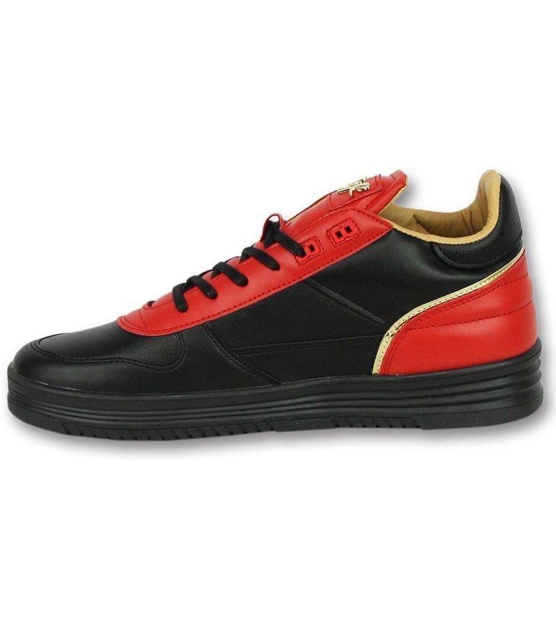 Cash Money Men Shoes Low Sneaker - Luxury Black Red - CMS72 - Red