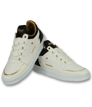 Cash Money Men Shoes Low Sneaker - Luxury White Black - CMS71 - White