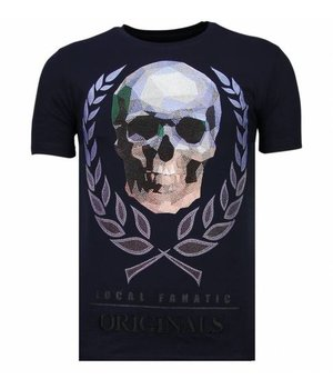 Local Fanatic Skull Originals - Rhinestone T-shirt - Navy