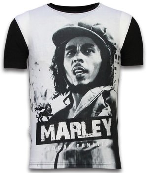 Local Fanatic Bob Marley Black And White - Digital Rhinestone T-shirt - Black