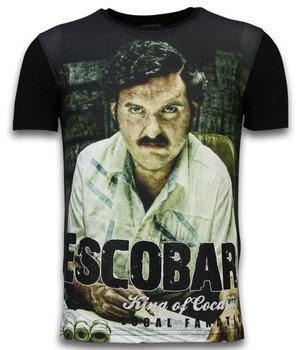 Local Fanatic Escobar King Of Cocaine - Digital Rhinestone T-shirt - Black