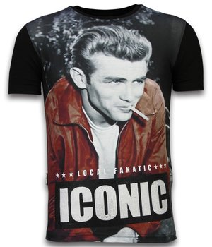 Local Fanatic James Dean Iconic - Digital Rhinestone T-shirt - Black