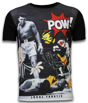 Local Fanatic Ali vs. Cartoons - Digital Rhinestone T-shirt -Black