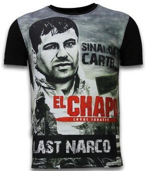 Local Fanatic El Chapo Last Narco - Digital Rhinestone T-shirt - Black