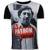 Local Fanatic El Patron Escobar - Digital Rhinestone T-shirt - Black