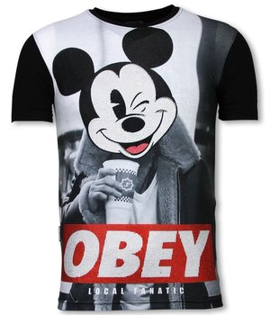 Local Fanatic Obey Mouse  - Digital Rhinestone T-shirt -Black