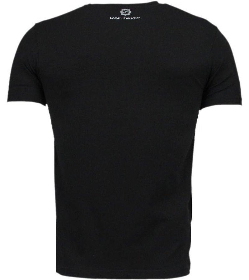 Local Fanatic Muscle Shark Rock - Digital Rhinestone T-shirt - Black