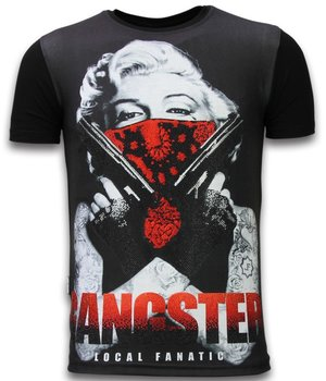 Local Fanatic Gangster Marilyn - Digital Rhinestone T-shirt - Black