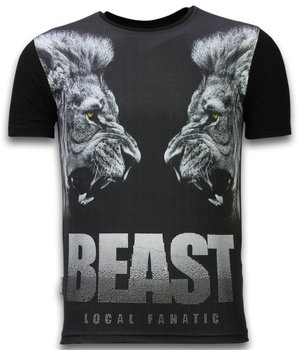 Local Fanatic Beast - Digital Rhinestone T-shirt - Black
