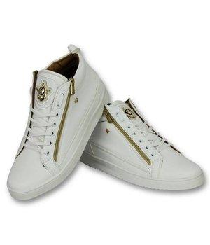 Cash Money Men Shoes High Sneaker - Bee White Gold - CMS98 - White