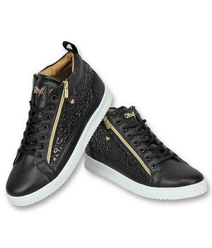 Cash Money Men Shoes High Sneaker - Croc Black Gold - CMS98 - Black