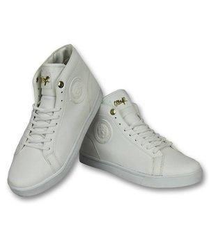 Cash Money Men Shoes High Sneaker - Lion White Gold - CMS86 - White