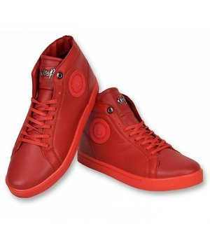 Cash Money Men Shoes High Sneaker - Lion Red Silver - CMS86 - Red