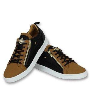 Cash Money Men Shoes Low Sneaker - Bee Camel Black  Gold - CMS97 - Brown