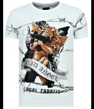 Local Fanatic Bad Angel  Funny T Shirt Men - White