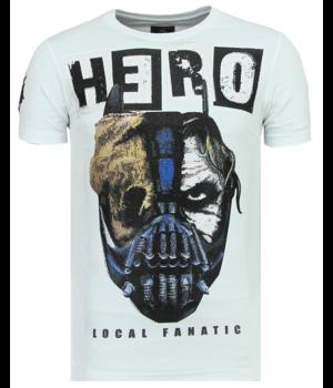 Local Fanatic Hero Mask Printed Men T Shirt - White