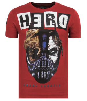 Local Fanatic Hero Mask Printed Men T Shirt - Bordeaux