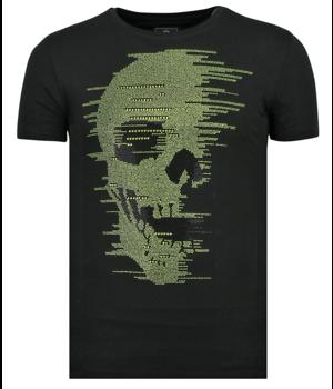Local Fanatic Skull Glitter - Men Summer T-shirt - Black