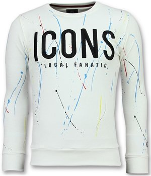 Local Fanatic ICONS Painted - Funny Sweater Men - White
