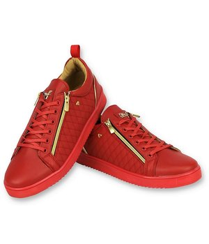 Cash Money Luxury Men's Sneakers -Jailor Red Gold - CMS97 - Red