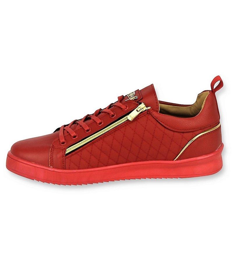 Cash Money Luxury Men's Sneakers -Jailor Red Gold - CMS97 - Red