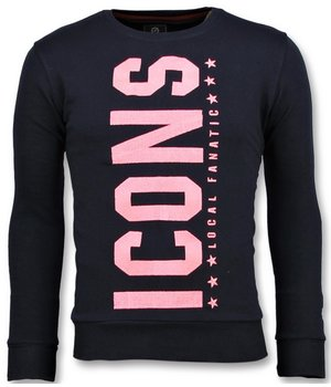 Local Fanatic ICONS Vertical - Cool Sweater Men - Navy