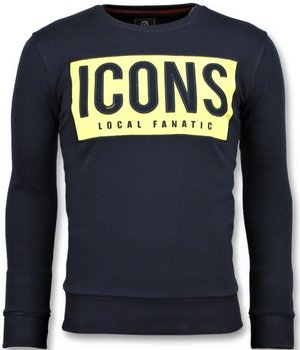 Local Fanatic ICONS Block - Men Cool Sweater - Navy