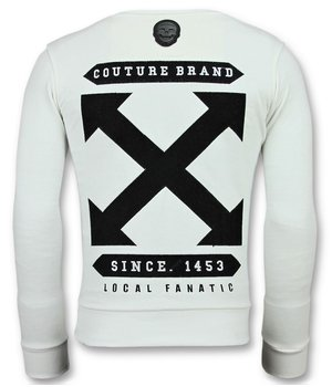 Local Fanatic Off Cross - Luxury Sweater Men  - White