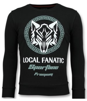 Local Fanatic Sportline Wolf - Cool Sweater Men - Black