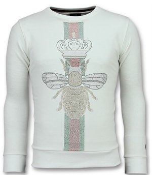 Local Fanatic King Fly Stone Printed Sweater - White