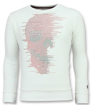 Local Fanatic Skull Glitter - Nice Sweater Men - White
